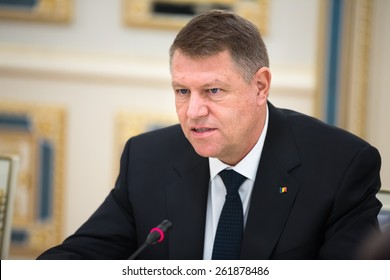 KIEV, UKRAINE - Mar. 17, 2015: Romanian President Klaus Werner Iohannis, during a meeting with the President of Ukraine, Pyotr Poroshenko
