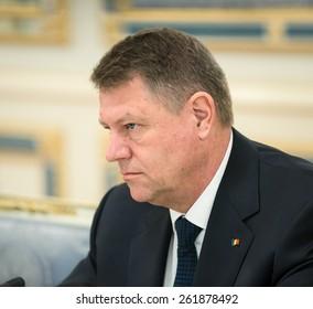 KIEV, UKRAINE - Mar. 17, 2015: Romanian President Klaus Werner Iohannis, during a meeting with the President of Ukraine, Pyotr Poroshenko