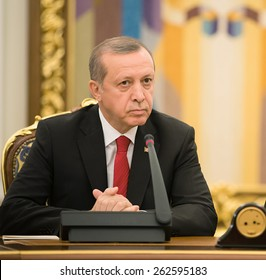 KIEV, UKRAINE - Mar. 20, 2015: Turkish President Recep Tayyip Erdogan and President of Ukraine Petro Poroshenko during a meeting in Kiev