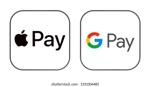 Kiev, Ukraine - March 01, 2019: Apple Pay and Google Pay icons printed on paper. Apple Pay is a mobile payment & digital wallet service. Google Pay is a digital wallet platform & online payment system