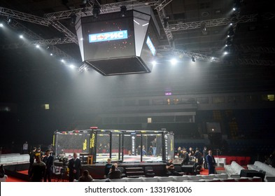 Kiev, Ukraine - March 02, 2019: General view of the ring mma octagon inside the palace of sports before WWFC 14 international professional mixed martial arts tournament in Palace of sport, Ukraine