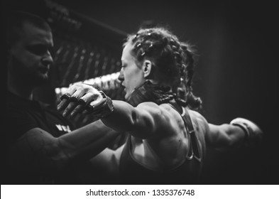 Kiev, Ukraine - March 02, 2019: mma fighters fight at the ring during WWFC 14 international professional mixed martial arts tournament in Palace of sport, Ukraine