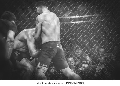 Kiev, Ukraine - March 02, 2019:  Mikhail Odintsov mma fighters fight Paata Chapelia at the ring during WWFC 14 international professional mixed martial arts tournament in Palace of sport, Ukraine