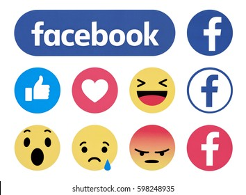 Kiev, Ukraine - March 03, 2016: New  Facebook like button 6 Empathetic Emoji reactions printed on paper. Facebook is a known social networking service.