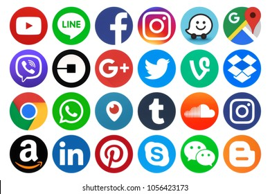 Kiev, Ukraine - March 06, 2017: Collection of popular round social media icons, printed on paper: Facebook, Twitter, Google Plus, Instagram, Pinterest, LinkedIn, Tumblr and others