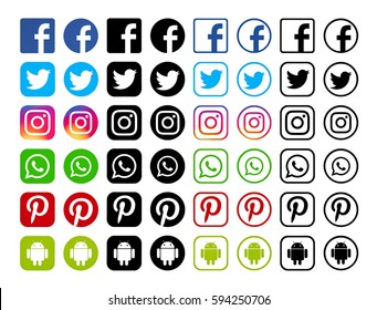 Kiev, Ukraine - March 06, 2017: Collection of most popular social media black logos: Facebook, Twitter, Pinterest, Instagram, WhatsApp, Android printed on paper.