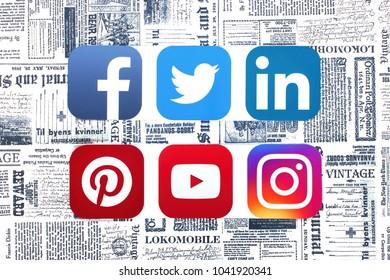 Kiev, Ukraine - MARCH 08, 2018: photo of popular social network logos, printed on paper: Facebook, Twitter, LinkedIn, Instagram    on a retro-newspaper background