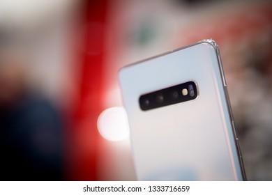 Kiev, Ukraine - March 08, 2019: the start of sales of Samsung Galaxy s10 plus, Samsung Galaxy s10, Samsung Galaxy s10e in Ukraine in the Vodafone store. New Samsung Galaxy S10e | S10 | S10 +