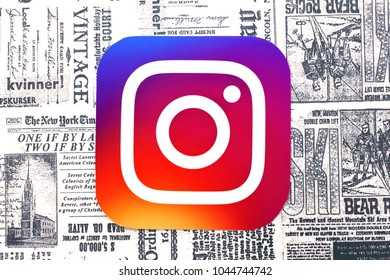 Kiev, Ukraine - March 09, 2018:  Instagram  icon printed on paper and placed on retro newspaper background