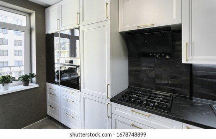 Kiev, Ukraine - March 1, 2020: A modern kitchen interior with a traditional touch. Home and kitchen design.
