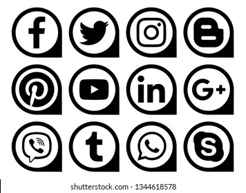 Kiev, Ukraine - March 11, 2019: Popular social media black icons pointers printed on paper: Facebook, Twitter, Instagram, Pinterest, LinkedIn, Viber, Tumblr and others