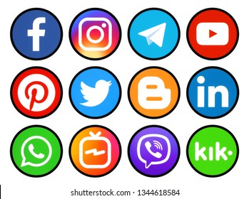 Kiev, Ukraine - March 11, 2019: Set of round icons with black rim of social media printed on paper: Pinterest, Twitter, Instagram, Facebook, LinkedIn, Viber, WhatsApp, Youtube, and others