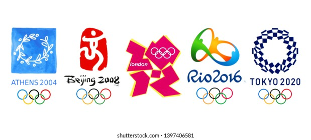 Kiev, Ukraine - March 11, 2019: Collection of official logos of the 2020 Summer Olympic Games in Tokyo, 2016 in Rio, 2012 in London, 2008 in Beijing, 2004 in Athens, printed on paper