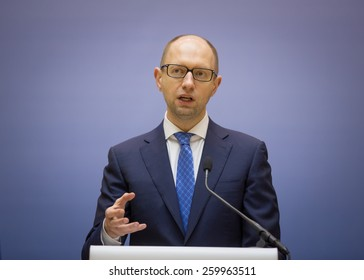 KIEV, UKRAINE - MARCH, 12, 2015: Prime Minister of Ukraine Arseniy Yatsenyuk. Ministers of the Cabinet of Ministers of Ukraine report on the results of 100 days after the appointment.