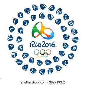 Kiev, Ukraine - March 12, 2016: Logo of the 2016 Summer Olympic Games with kinds of sport in Rio de Janeiro, Brazil, from August 5 to August 21, 2016, printed on paper.