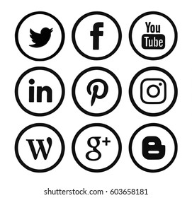 Kiev, Ukraine - March 13, 2017: Collection of popular social media logos printed on paper: Facebook, Twitter, Google Plus, Instagram, Pinterest, LinkedIn, YouTube and others.