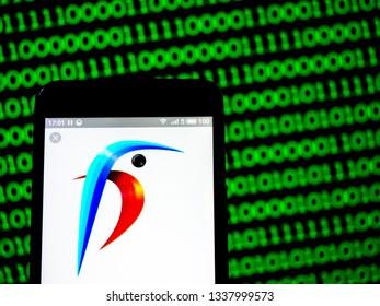 KIEV, UKRAINE - March 13, 2019: Kingfisher plc company logo seen displayed on smart phone.