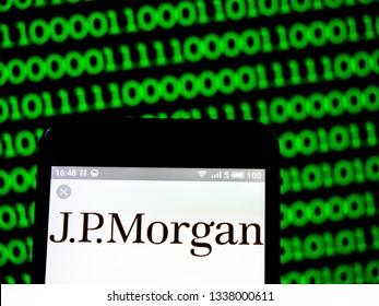 KIEV, UKRAINE - March 13, 2019: JPMorgan American Investment Trust, JPMorgan Emerging Markets Investment Trust, JPMorgan Indian Investment Trust and JPMorgan Japanese Investment Trust logo on phone