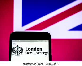 KIEV, UKRAINE - March 13, 2019: London Stock Exchange Group plc company logo seen displayed on smart phone.