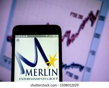KIEV, UKRAINE - March 13, 2019: Merlin Entertainments plc company logo seen displayed on smart phone.