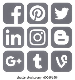 Kiev, Ukraine - March 14, 2017: Collection of popular social media grey logos printed on paper: Facebook, Twitter, Google Plus, Instagram, Pinterest, LinkedIn, Vine, Tumblr and Blogger