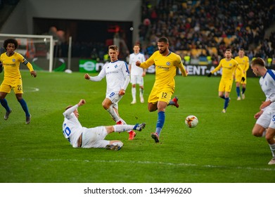 Kiev, UKRAINE - March 14, 2019: Ruben Ira Loftus-Cheek is English professional footballer, midfielder for Premier League club Chelsea and English national team in the UEFA Europa League match.