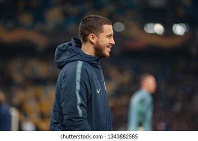 KIEV, UKRAINE - March 14: Eden Hazard during the 2018/19 UEFA Europa League match between Dinamo Kiev vs Chelsea, London, England on Olympic NSC, Ukraine