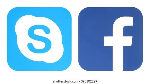 KIEV, UKRAINE - MARCH 15, 2016: Facebook and Skype logo printed on paper.