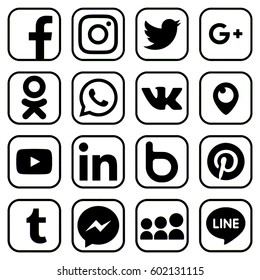 KIEV, UKRAINE - MARCH 16, 2017: Collection of popular social media logos printed on paper: Facebook, Twitter, LinkedIn, Instagram, WhatsApp, Youtube, Line and other