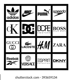 Kiev, Ukraine - March 17, 2016: Set of most popular logos of brands clothing  printed on white paper: Adidas, Puma, Reebok, Speedo, Boss, Versace, Gucci, Lacoste, Zara, Hennes & Mauritz, Calvin Klein.