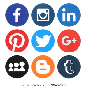 Kiev, Ukraine - March 18, 2016: Collection of popular round social media logos printed on paper:Facebook, Twitter, Google Plus, Instagram, MySpace, LinkedIn, Pinterest, Tumblr and Blogger