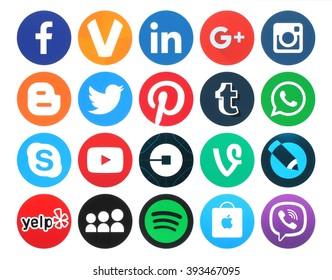 Kiev, Ukraine - March 18, 2016: Collection of popular 20 round social media logos printed on paper:Facebook, Twitter, Google Plus, Instagram, MySpace, LinkedIn, Pinterest, Tumblr and others