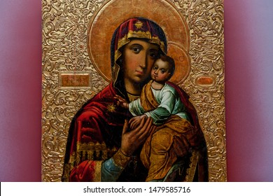 Kiev, Ukraine, March 18, 2019: Icon of the Virgin Mary and Jesus Christ as a child, Byzantine iconography at the National Museum of Art
