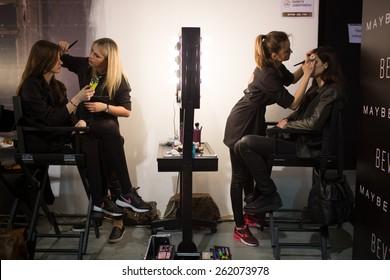 KIEV, UKRAINE - MARCH, 19, 2015: Models prepare to enter the podium before the show Sayya by ukrainian designer Luba Makarenko during Ukrainian Fashion Week