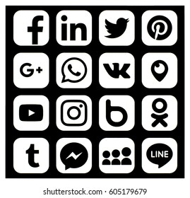 KIEV, UKRAINE - MARCH 20, 2017: Collection of popular social media logos printed on paper: Facebook, Twitter, LinkedIn, Instagram, WhatsApp, Youtube, Line and other