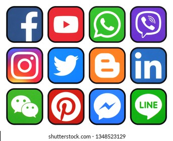 Kiev, Ukraine - March 20 2019: Set of rounded icons with black rim of social media printed on paper: Pinterest, Twitter, Instagram, Facebook, LinkedIn, Viber, WhatsApp, Youtube, and others