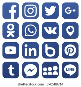 KIEV, UKRAINE - MARCH !, 2017: Collection of popular social media logos printed on paper: Facebook, Twitter, LinkedIn, Instagram, WhatsApp, Youtube, Line and other