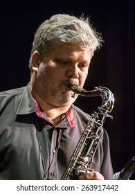 "KIEV, UKRAINE - MARCH 21, 2015: Saxophonist Alexander Rukomoynikov, 14 international jazz festival ""Unity""."