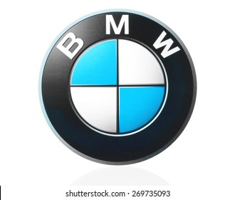 KIEV, UKRAINE - MARCH 21, 2015: BMW logo printed on paper and placed on white background. BMW is a German automobile manufacturer.