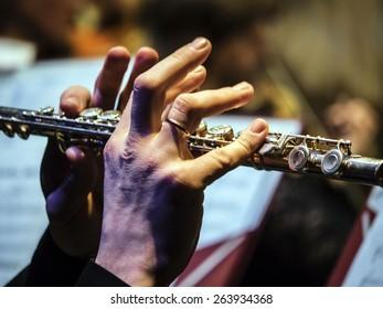 "KIEV, UKRAINE - MARCH 21, 2015:Flutist of the National Presidential Orchestra of Ukraine. 14 international jazz festival ""Unity""."