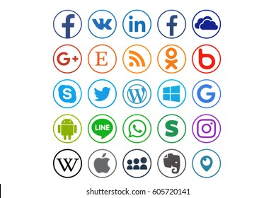 KIEV, UKRAINE - MARCH 21, 2017: Collection of popular social media logos printed on paper: Facebook, Twitter, LinkedIn, Instagram, Tango, WhatsApp, Youtube, Line and other