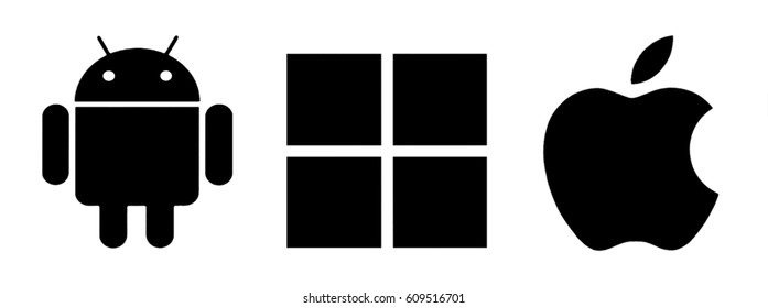 Kiev, Ukraine - March 21, 2017: Set of top brand operating system logos, printed on paper.