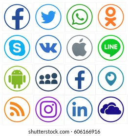 KIEV, UKRAINE - MARCH 22, 2017: Collection of popular social media logos printed on paper: Facebook, Twitter, LinkedIn, Instagram, Tango, WhatsApp, Youtube, Line and other