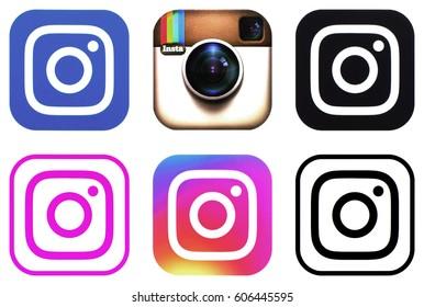 KIEV, UKRAINE - MARCH 22, 2017: Collection of popular social media logos printed on paper:  Instagram