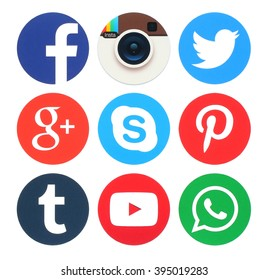 Kiev, Ukraine - March 23, 2016: Collection of popular round social media logos printed on paper:Facebook, Twitter, Google Plus, App Insta Instagram, Skype, Pinterest, Tumblr, Youtube and WhatsApp