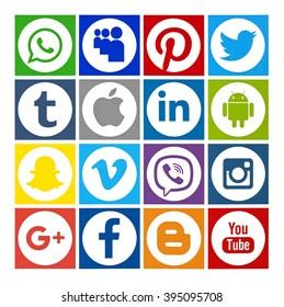 Kiev, Ukraine - March 23, 2016: Set of most popular social media icons: Twitter, Pinterest, Instagram, Facebook, Blogger, WhatsApp,Viber, Linkedin, Tumblr, Google Plus and others printed on paper.
