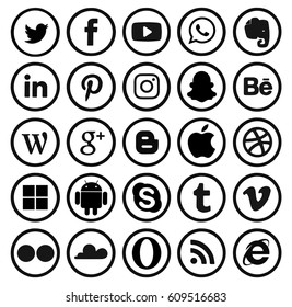 Kiev, Ukraine - March 23, 2017: Collection of popular social media logos printed on paper: Facebook, Twitter, Google Plus, Instagram, Pinterest, LinkedIn, YouTube and others.