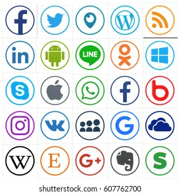 KIEV, UKRAINE - MARCH 24, 2017: Collection of popular social media logos printed on paper: Facebook, Twitter, LinkedIn, Instagram, Tango, WhatsApp, Youtube, Line and other