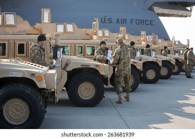 KIEV, UKRAINE - MARCH, 25, 2015:U.S. Air Force plane with the first lot of American armored vehicles arrived in Boryspil International Airport