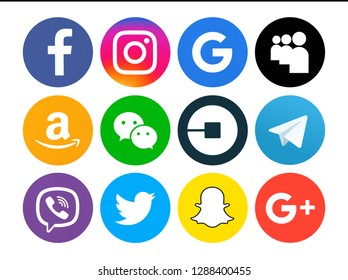 Kiev, Ukraine - March 25, 2017: Set of popular social media icons printed on white paper: Facebook, Instagram, Google,  Snapchat, MySpace, Telegram, Amazon, Google Plus, WeChat, Uber, Viber, Twitter,